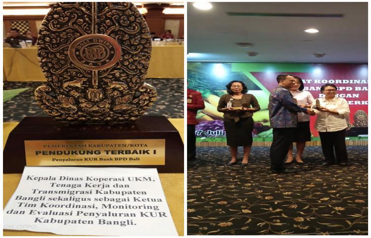 Dinas Koperasi UMKM.TKT Kab. Bangli raih predikat Pendukung Terbaik 1 Pemerintah Kab/Kota dalam Penyaluran KUR dari Bank BPD Bali