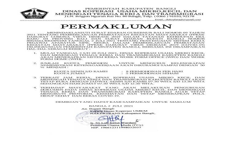 PERMAKLUMAN-TERKAIT-PELAYANAN-ADMINISTRASI-BAGI-CALON-TENAGA-KERJA-INDONESIA--PADA-DINAS-KOPERASI-UMKM-NAKER-DAN-TRANSMIGRASI-SELAMA-MASA--PPKM-DARURAT-COVID19-DI-KAB-BANGLI.html