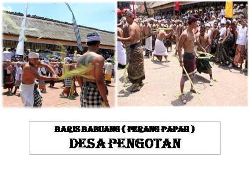Tradisi unik  perang Papah (Baris Babuang) di Desa Pengotan - Bangli