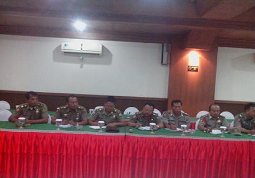 Rapat Teknis dukungan pengamanan Pemilu 2014 yang diikuti oleh  Satpol PP Se-bali di Denpasar