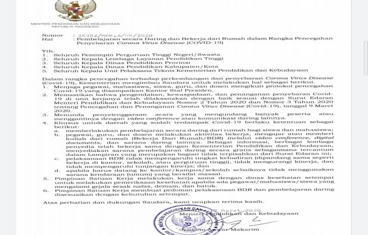 Surat Edaram Menteri Pendidikan dan Kebudayaan prihal Pbepajaran secara daring