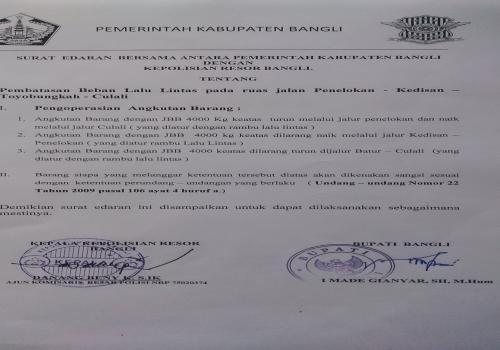 Surat  Edaran  Bersama Antara Pemerintah Kabupaten Bangli Dengan Kepolisian Resort Bangli