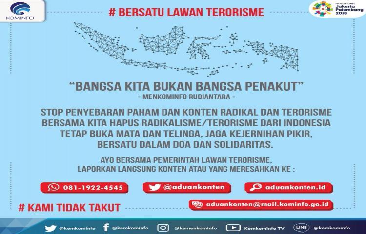 Bersatu Lawan Terorisme, Bangsa Kita Bukan Bangsa Penakut